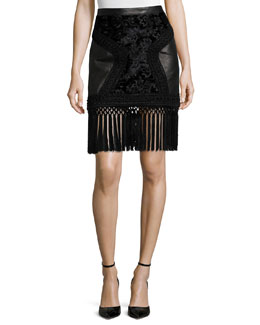 Fringe-Trimmed Leather Paneled Skirt