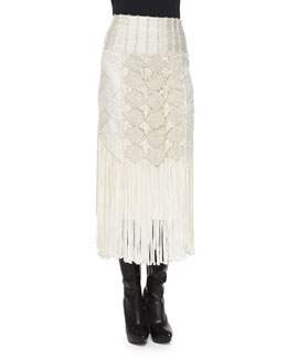 Crocheted Fringe-Trimmed Pencil Skirt, Cream