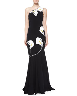 Calla Lily Beaded Mermaid Gown