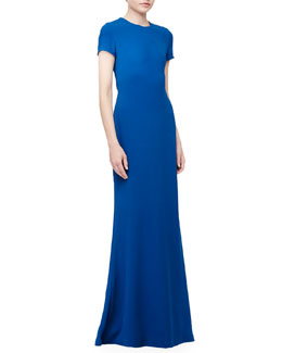 Open-Back Crepe Gown, Atlas