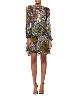 Ruffled Henna-Print Devore Dress