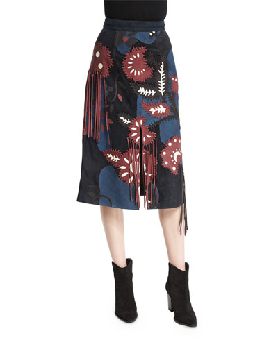 Patchwork Suede Skirt W/Fringe, Bright Navy