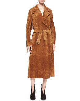 Suede Long-Sleeve Fringe-Back Jacket, Sepia Brown