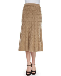 Aran Cashmere-Blend Cable-Knit Trumpet Skirt