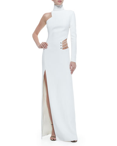 Cutout One-Sleeve High-Slit Gown