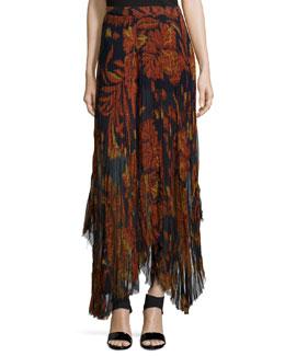 Floral-Print Raw-Edge Handkerchief Skirt, Orange