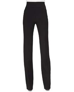 High-Rise Flared Crepe Pants, Black