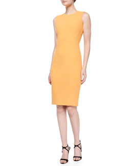 Crepe Zip-Back Sheath Dress