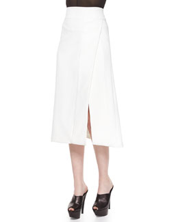 Side-Slit Scuba Crepe Midi Skirt