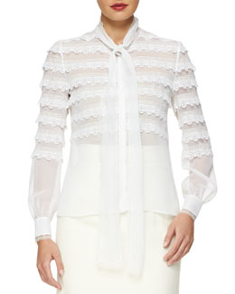 Scalloped Lace-Trimmed Tie-Neck Blouse
