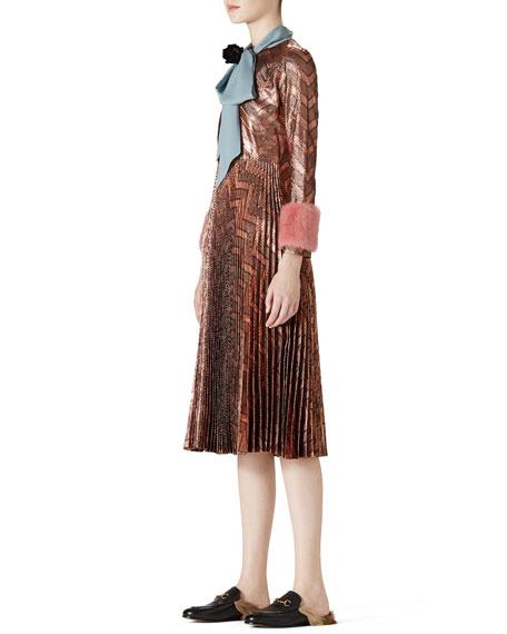 Zigzag Metallic Plisse Dress