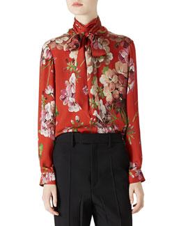 Geranium Print Silk Button-Down Shirt