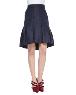 Box-Pleated Trumpet Skirt, Navy