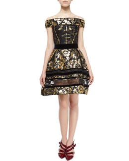 Velvet-Trim Brocade Dress W/Lace Insets, Gold/Black