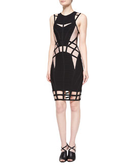 Two-Tone Cage Cutout Bandage Dress
