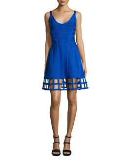 Sleeveless Bandage Dress W/Cage Hem, Blue