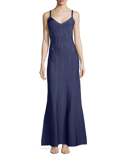 Sleeveless Flared Bandage Gown, Purple