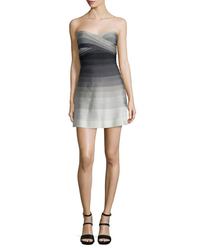 Strapless Degrade Bandage Dress, Dove Combo