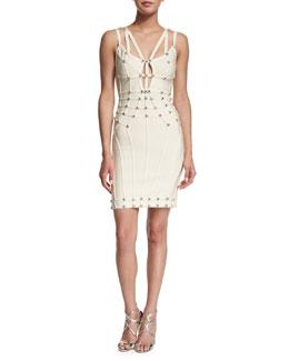 Double-Strap V-Neck Bandage Dress, Off White