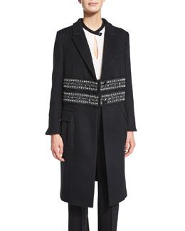 Paillette-Embellished Cashmere Coat, Black