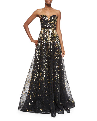 Strapless Metallic & Lace Gown
