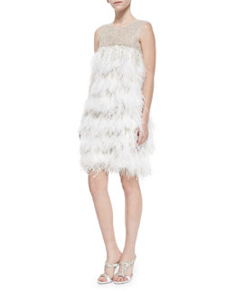 Sleeveless Feather Cocktail Dress, White