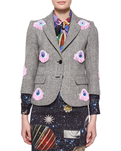Two-Button Blazer with Eye Appliques, Gray