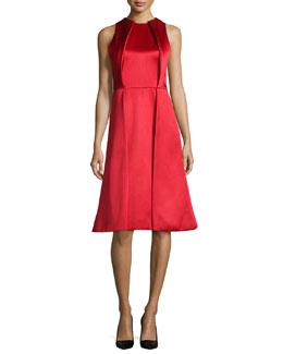 Sleeveless Twill Pleated-Front Dress