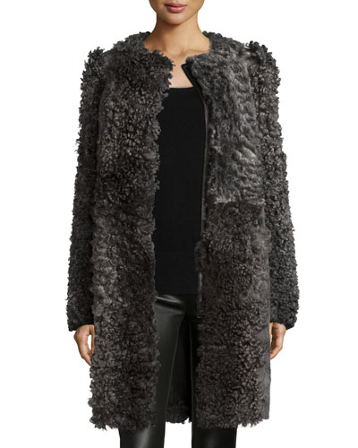 Classic Curly Shearling Fur Coat, Gray