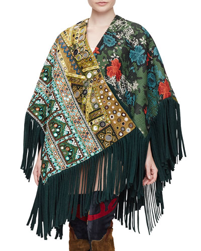 Fringe-Trim Cashmere-Blend Jacquard Poncho, Dark Forest Green