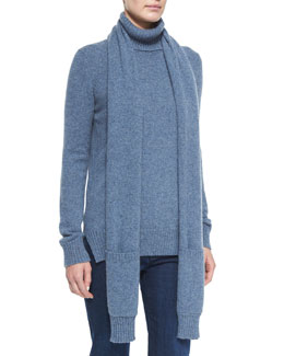 Dolcevita Cashmere Detachable-Scarf Turtleneck Sweater
