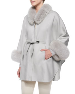 Onslow Fox Fur-Trimmed Cashmere Cape