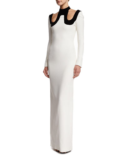 Long-Sleeve Silk Cold-Shoulder Column Gown, Chalk