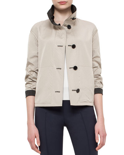 Micro-Dot Reversible Jacket, Black/Cream