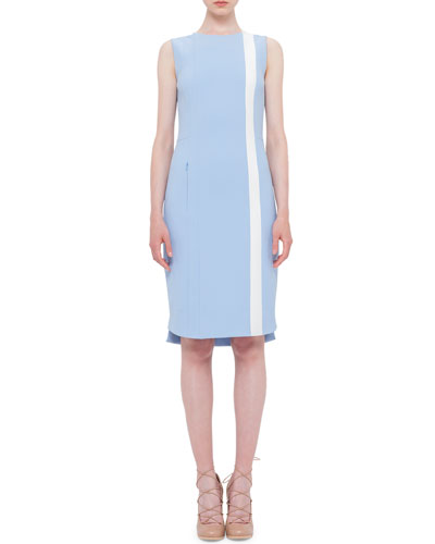 Sleeveless Techno Fabric Shift Dress, Sky Blue/Cream
