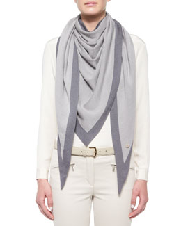 Scialle Twice Golden Knit Triangle Shawl, Rime/Hazy Gray