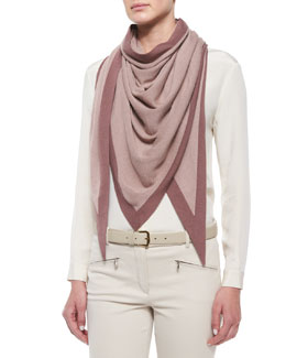 Scialle Twice Golden Knit Triangle Shawl, Spanish Pink/Wood