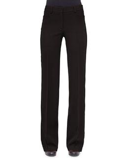Mikka Wide-Leg Pants W/Grosgrain Stripe, Black