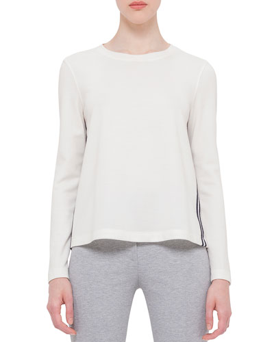 Boxy Long-Sleeve Jersey Top, Cream