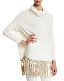 Long-Sleeve Cashmere Poncho w/Knotted Leather Fringe