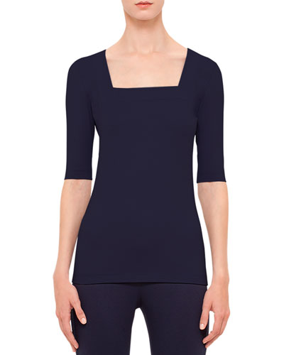 Half-Sleeve Square-Neck Top, Indigo