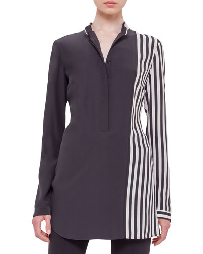 Long-Sleeve Half-Striped Silk Tunic, Black/Cream