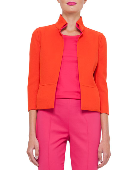 Candy Reversible 3/4-Sleeve Double-Face Wool Jacket, Zinnia/Rose