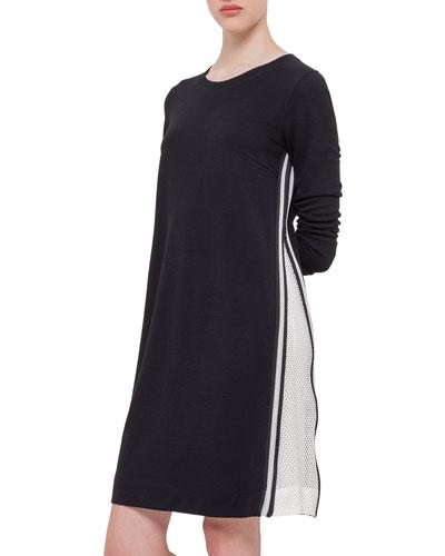 Long-Sleeve Mesh-Trimmed Jersey Dress, Black
