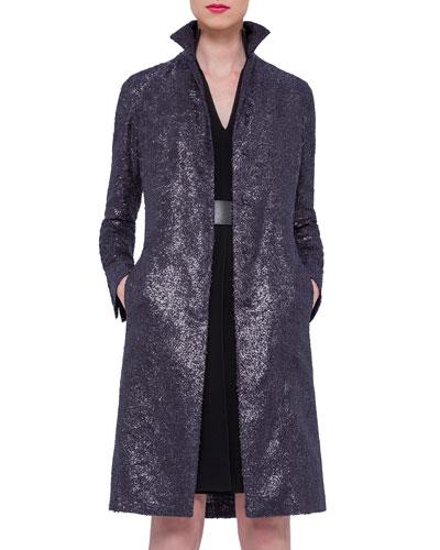Allover Beaded Mid-Length Coat, Navy