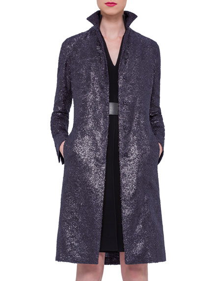 Foiled Crepe Mid-Length Coat, Navy
