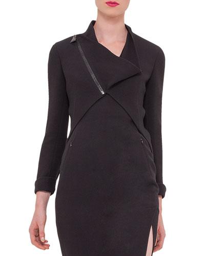 Long-Sleeve Asymmetric-Zip Wool-Crepe Jacket, Black