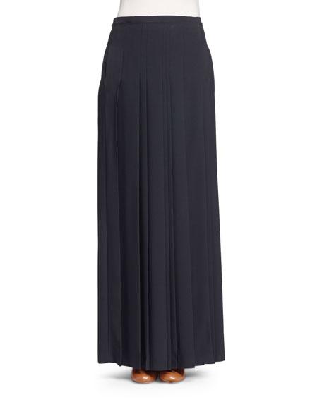 Pleated Kilt Maxi Skirt, Black