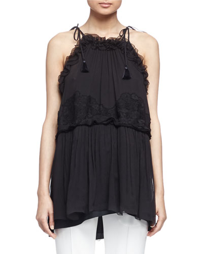 Lace-Overlay Ruffled Halter Top