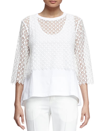 Embroidered-Overlay Jersey Top